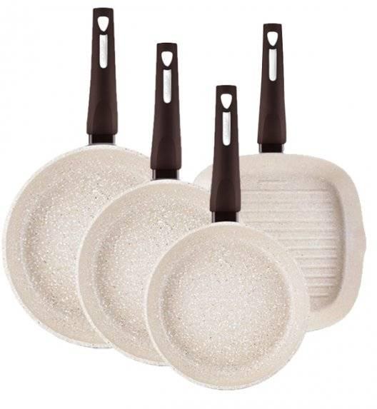 AMBITION BROWN STONE Komplet patelni 20, 26, 28 cm + grillowa 26 cm / powłoka Qualum Basic Stone / indukcja