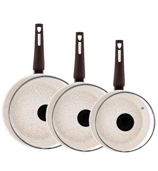 AMBITION BROWN STONE Komplet patelni 20, 26, 28 cm +pokrywki/ powłoka Qualum Basic Stone / indukcja