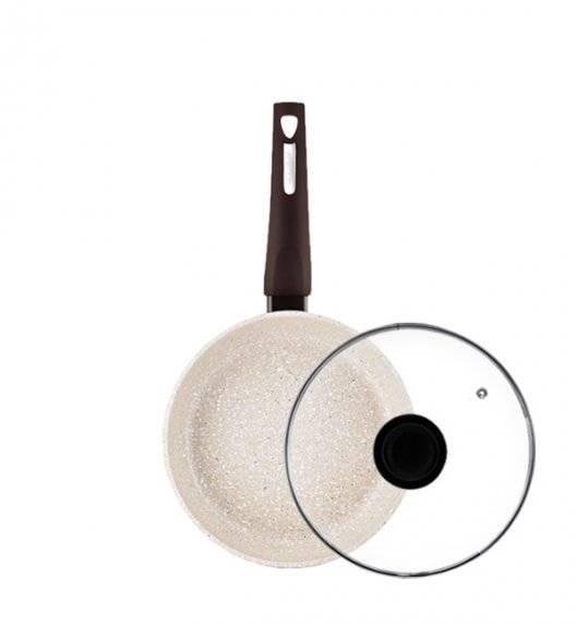 AMBITION BROWN STONE Patelnia 20 cm+ pokrywka / powłoka Qualum Basic Stone / indukcja