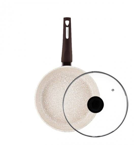 AMBITION BROWN STONE Patelnia 26 cm+ pokrywka / powłoka Qualum Basic Stone / indukcja