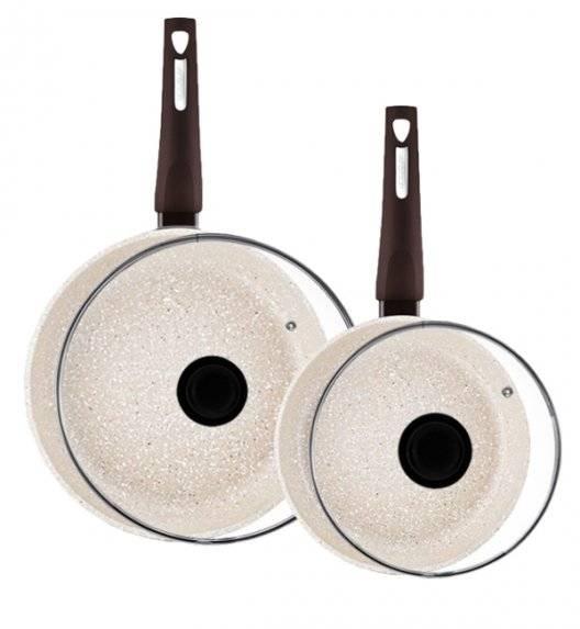 AMBITION BROWN STONE Komplet patelni 20, 28 cm + pokrywki / powłoka Qualum Basic Stone / indukcja