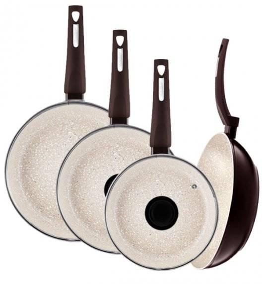 AMBITION BROWN STONE Komplet patelni 20, 26, 28 cm +pokrywki+ Wok 28 cm / powłoka Qualum Basic Stone / indukcja