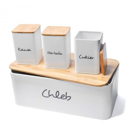 TADAR MAESTRA Chlebak + 3 pojemniki do przechowywania z napisem / biały / stal węglowa + drewno bambusowe