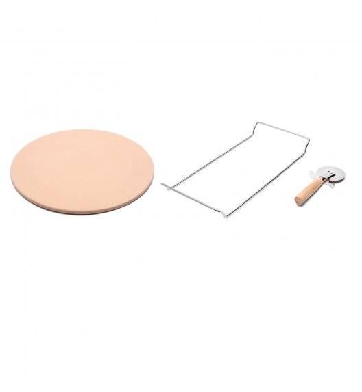 KONIGHOFFER Kamień do pieczenia pizzy 33 cm ze stojakiem + nóż do pizzy / kamień + stal nierdzewna