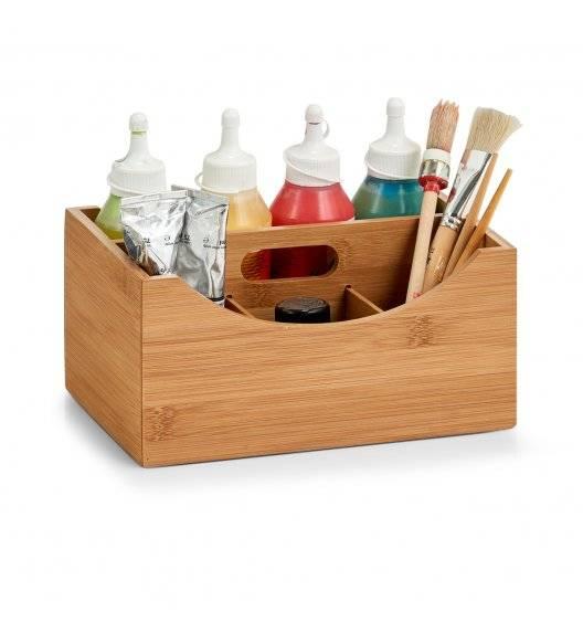 ZELLER Pudełko do przechowywania z uchwytem i 4 przegródkami 25x18 cm / drewno bambusowe