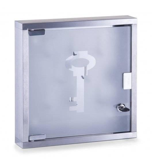 ZELLER Skrzynka na klucze ze szklanymi drzwiczkami 30 x 30 cm / stal