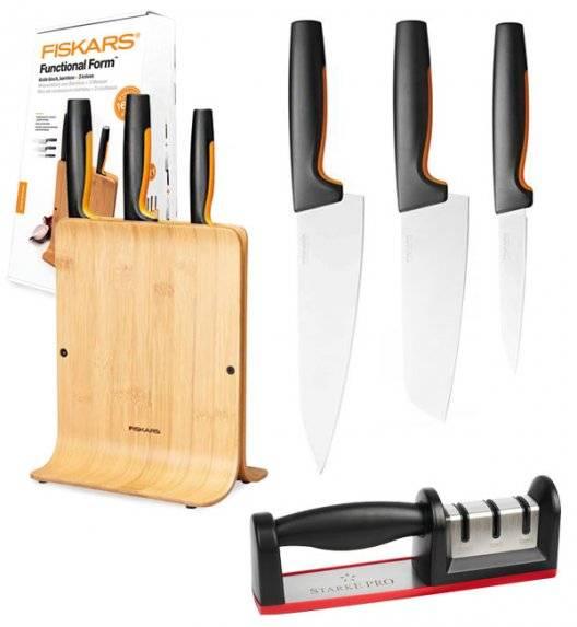 FISKARS FUNCTIONAL FORM 1057553 Komplet 3 noży w bloku bambusowym + ostrzałka diamentowa