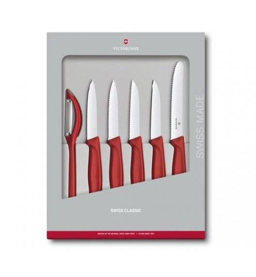 VICTORINOX SWISS CLASSIC Zestaw 5 noży do warzyw i owoców + obieraczka / czerwony