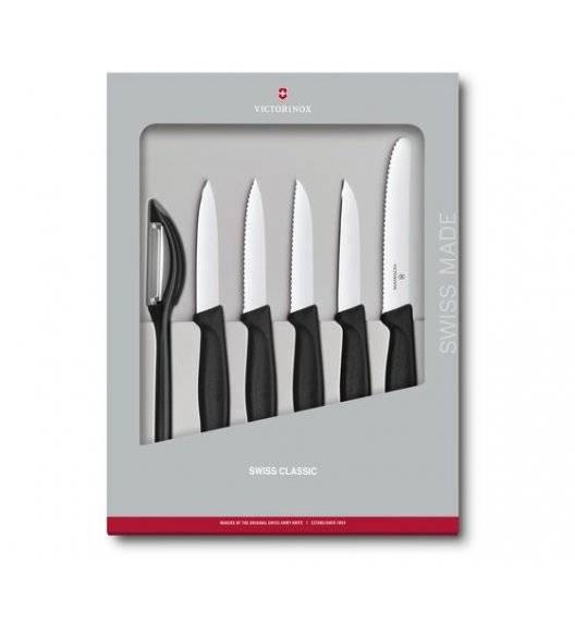 VICTORINOX SWISS CLASSIC Zestaw 5 noży do warzyw i owoców + obieraczka / czarny