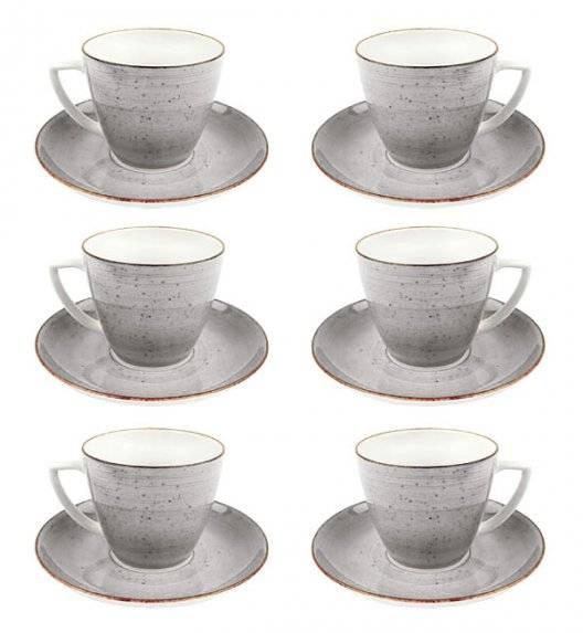 LUBIANA BOSS 6630Z Komplet Filiżanka 350 ml + spodek / 6 os / 12 el / szary / porcelana ręcznie malowana