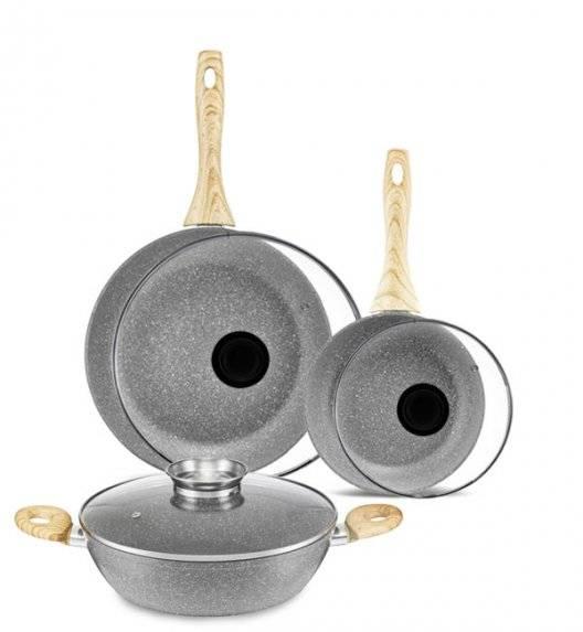 AMBITION KENYA Komplet patelni 20, 28 cm +pokrywki +patelnia głęboka / powłoka nieprzywierająca / indukcja