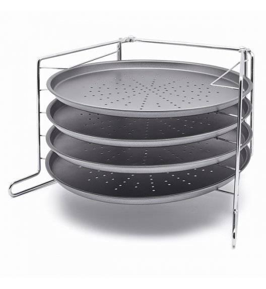 KONIGHOFFER LECKER Komplet 4 form do pizzy 28 cm na stojaku / stal węglowa