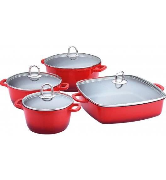 LAMART CAST Komplet Garnków z pokrywkami + brytfanna 8 el / czerwone / powłoka ceramiczna / K16202428