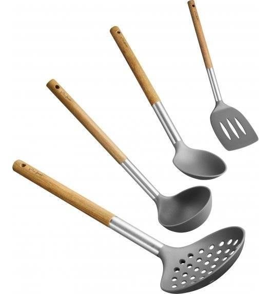 LAMART WOOD Zestaw 4 narzędzi kuchennych / żaroodporny nylon / LT3900
