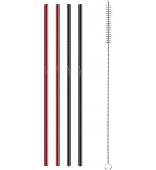 LAMART STRAW Zestaw metalowych słomek + szczoteczka do czyszczenia / czerwono-czarne  / LT7054