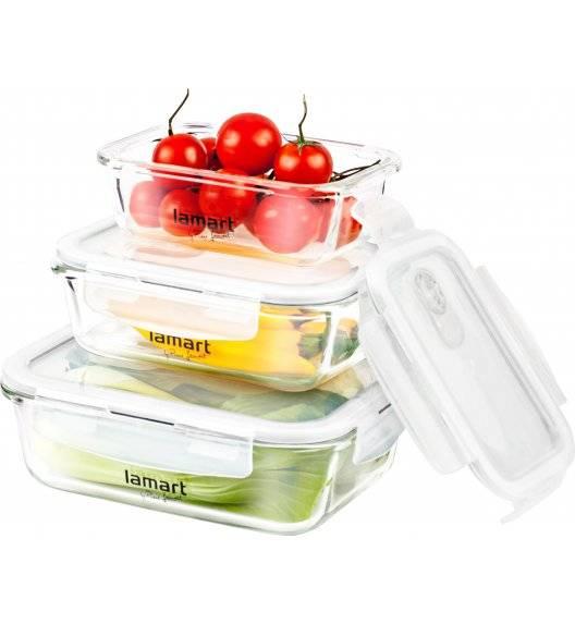 LAMART AIR Zestaw 3 szklanych pojemników na żywność / LT6011