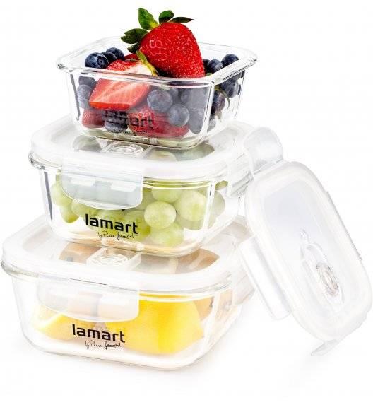 LAMART AIR Zestaw 3 szklanych pojemników na żywność / LT6012