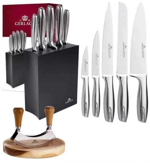 GERLACH MODERN 993 Zestaw noży w bloku 6 elementów + tasak z deską do ziół / czarny