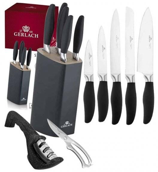 GERLACH STYLE Komplet 5 noży w bloku + ostrzałka Granitex 3w1 + nożyce stalowe do drobiu