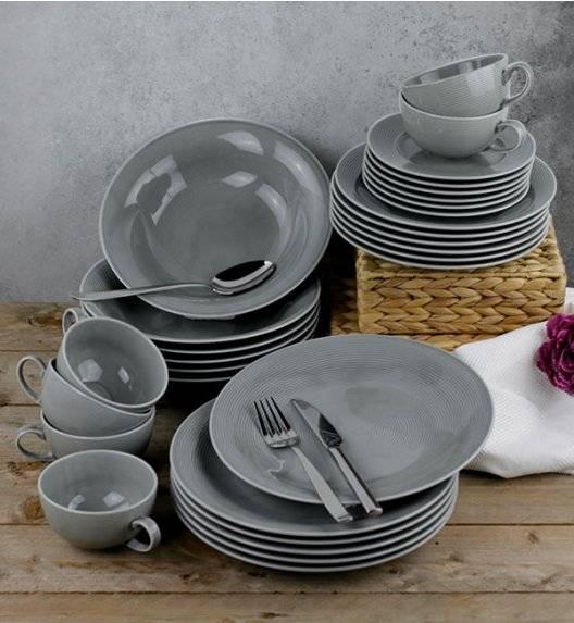 LUBIANA ETO K100 Serwis obiadowo kawowy / szary / 60 el dla 12 osób / porcelana ręcznie malowana