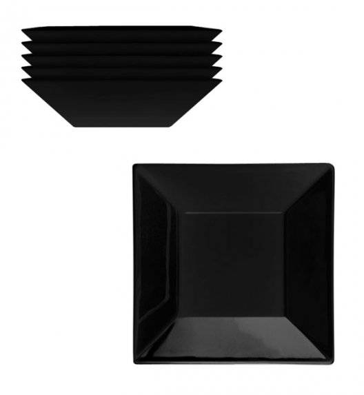 LUBIANA CLASSIC Komplet talerzy głębokich 18,5 cm / 6 os / 6 el / czarny / porcelana