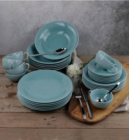 LUBIANA ETO K500 Serwis obiadowo kawowy / morski / 60 el dla 12 osób / porcelana ręcznie malowana