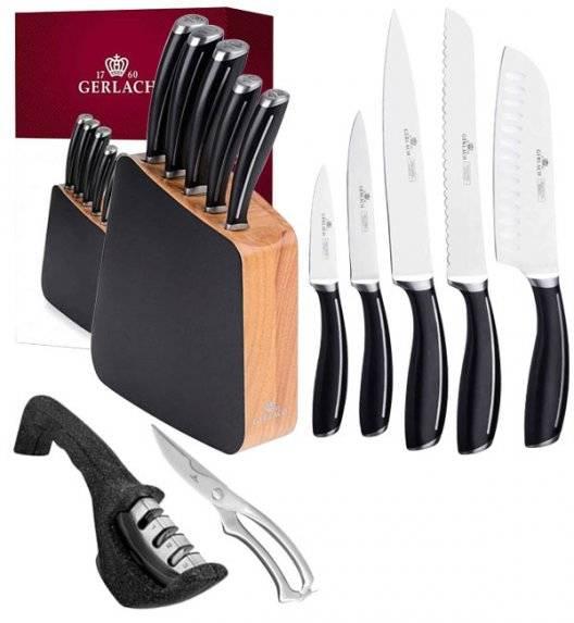 GERLACH LOFT Komplet 5 noży w bloku + ostrzałka 3w1 Granitex +nożyce stalowe do drobiu