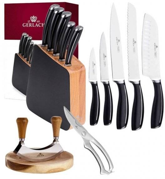 GERLACH LOFT Komplet 5 noży w bloku + Gerlach Natur Tasak do ziół z deską + nożyce do drobiu stalowe