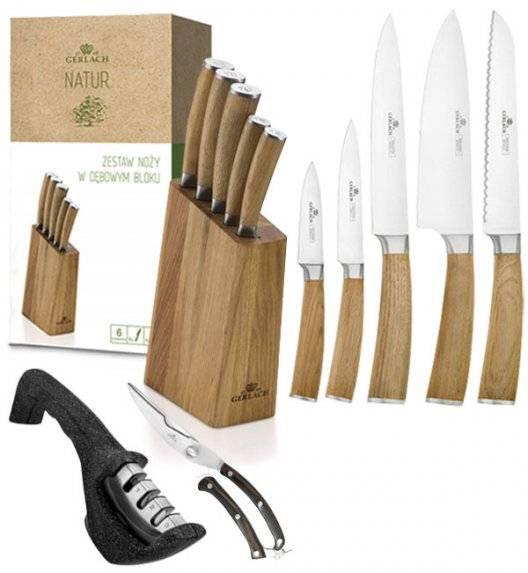 GERLACH NATUR Komplet 5 noży w bloku + ostrzałka 3w1 Gerlach Granitex+ nożyce drewniane do drobiu