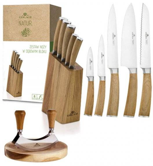 GERLACH NATUR Komplet 5 noży w bloku + Natur Tasak do ziół z deską