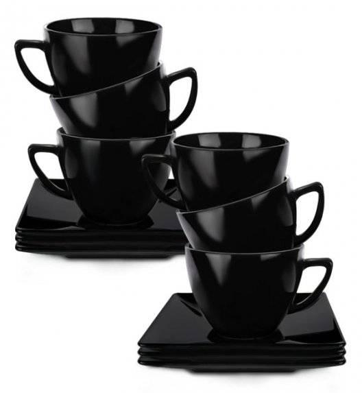 LUBIANA CLASSIC Komplet 6 Filiżanek 280 ml + spodki 15 cm / czarny / 12 el / 6 os / porcelana
