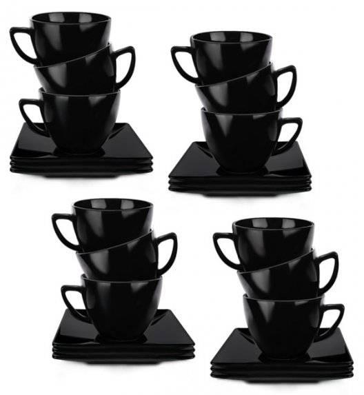 LUBIANA CLASSIC Komplet 12 Filiżanek 280 ml + spodki 15 cm / czarny / 24 el / 12 os / porcelana