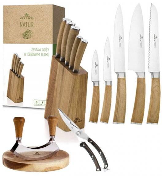 GERLACH NATUR Komplet 5 noży w bloku + Natur Tasak do ziół z deską + nożyce do drobiu drewniane