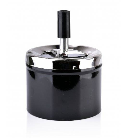 MONDEX ASHLEY Popielniczka stalowa z przyciskiem 9,3 cm x 7,1 cm / czarna