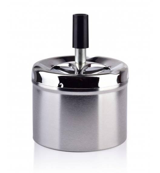 MONDEX ASHLEY Popielniczka stalowa z przyciskiem 9,3 cm x 7,1 cm / srebrna