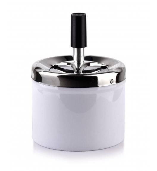 MONDEX ASHLEY Popielniczka stalowa z przyciskiem 9,3 cm x 7,1 cm / biała