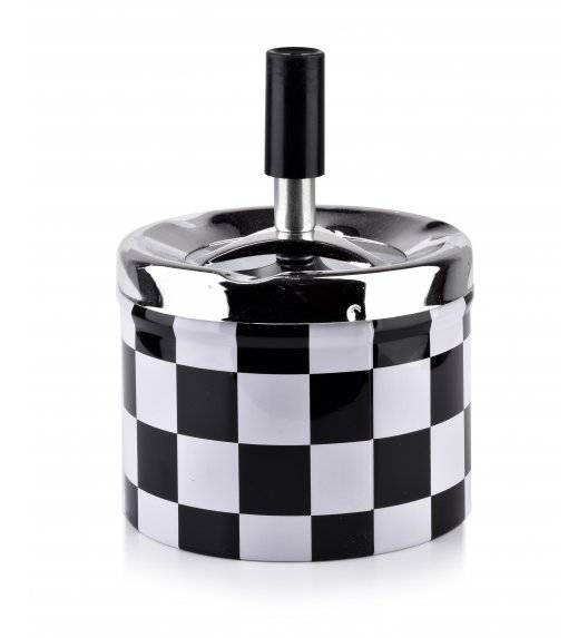 MONDEX ASHLEY Popielniczka stalowa z przyciskiem 9,3 cm x 7,1 cm / szachownica