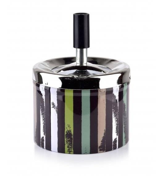 MONDEX ASHLEY Popielniczka stalowa z przyciskiem 9,3 cm x 7,1 cm / kolorowe paski