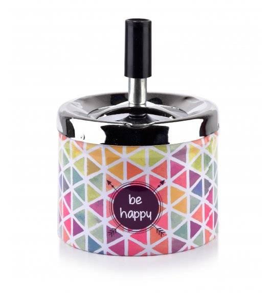 MONDEX ASHLEY Popielniczka stalowa z przyciskiem 9,3 cm x 7,1 cm / Be happy