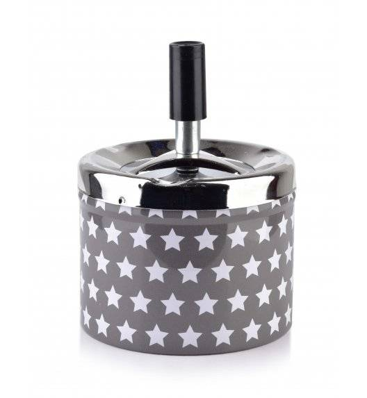 MONDEX ASHLEY Popielniczka stalowa z przyciskiem 9,3 cm x 7,1 cm / Gwiazdki