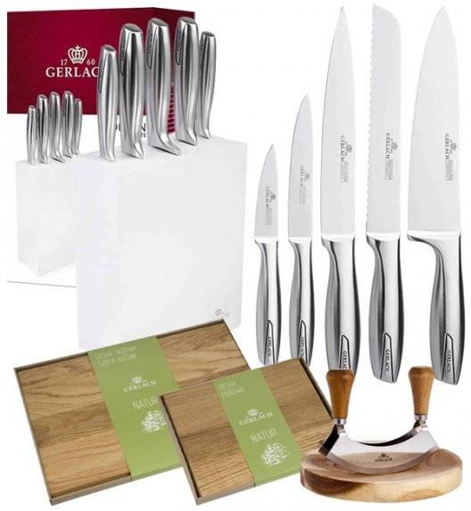 GERLACH MODERN Komplet 5 noży w bloku + Tasak Natur do ziół + komplet 2 desek