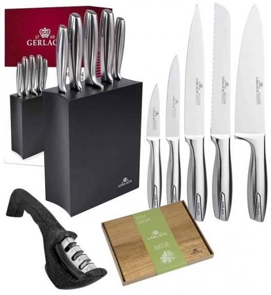 GERLACH MODERN 993 Zestaw noży w bloku czarne 6 elementów + ostrzałka Granitex 3w1 + deska dębowa / czarny