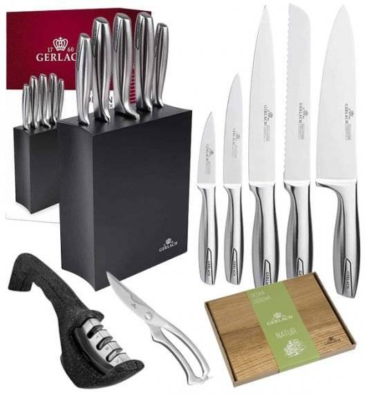 GERLACH MODERN 993 Zestaw noży w bloku czarne 6 elementów + ostrzałka Granitex 3w1 + deska dębowa + nożyce / czarny