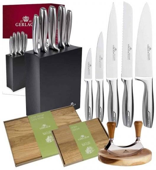 GERLACH MODERN 993 Zestaw noży w bloku 6 elementów + tasak z deską do ziół + komplet desek dębowych / czarny