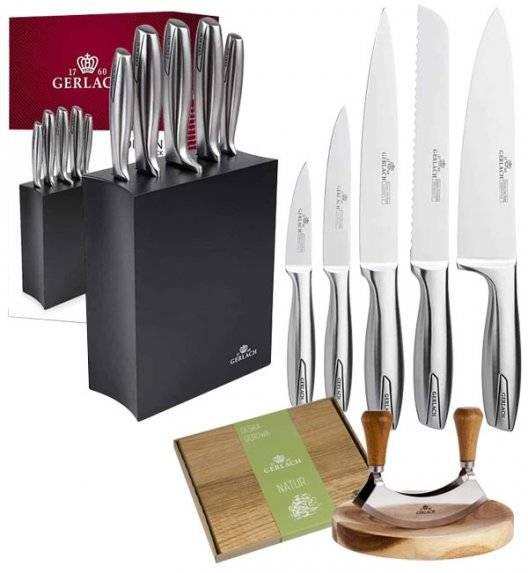 GERLACH MODERN 993 Zestaw noży w bloku 6 elementów + tasak z deską do ziół + deska dębowa + nożyce / czarny