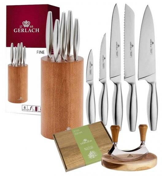 GERLACH FINE Komplet 5 noży w bloku + Natur Tasak z deską do ziół + deska dębowa