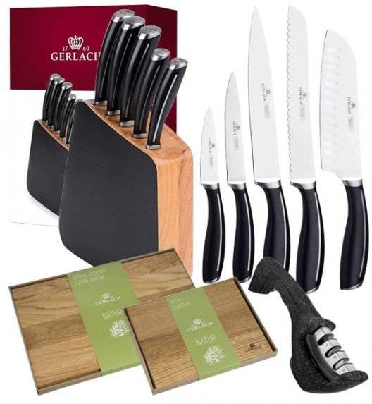 GERLACH LOFT Komplet 5 noży w bloku + ostrzałka 3w1 + komplet desek dębowych