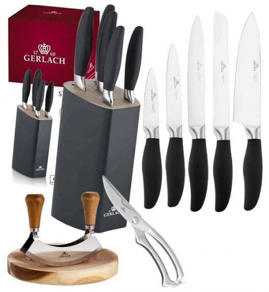 GERLACH STYLE Komplet 5 noży w bloku + Natur Tasak do ziół z deską +nożyce stalowe do drobiu