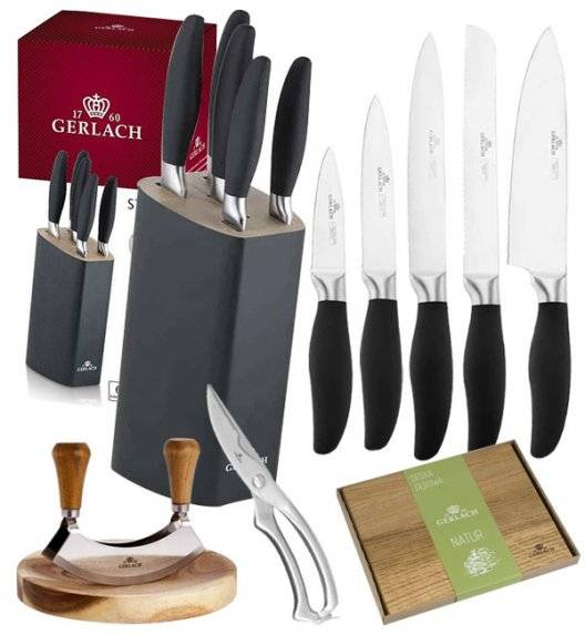 GERLACH STYLE Komplet 5 noży w bloku + Natur Tasak do ziół z deską +deska dębowa Natur+ nożyce stalowe do drobiu