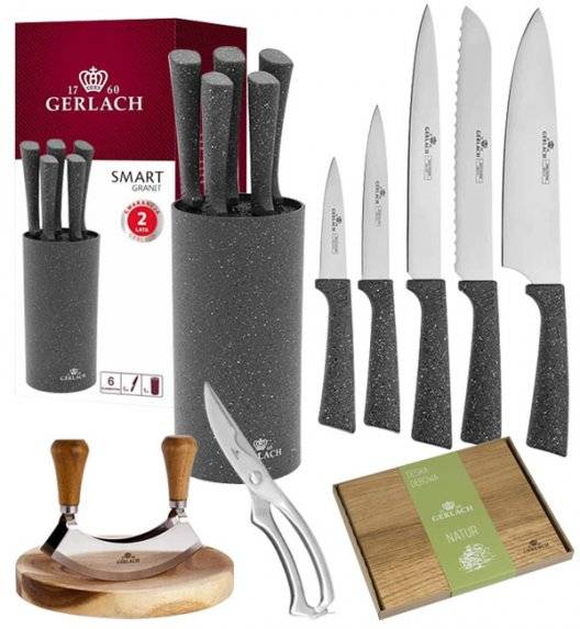 GERLACH SMART GRANIT Komplet 5 noży w bloku + Tasak do ziół z deską +deska Natur mała+ nożyce stalowe do drobiu